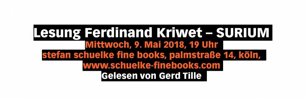 Lesung Ferdinand Kriwet – SURIUM